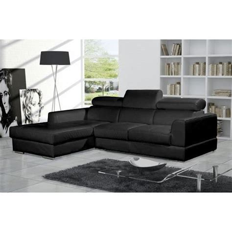 canapé d angle noir cuir canapé d 39 angle moderne neto noir cuir pas cher achat