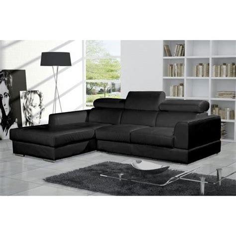 canapé angle cuir pas cher canapé d 39 angle moderne neto noir cuir pas cher achat