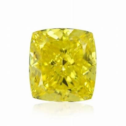 Yellow Fancy Vivid Cushion Diamond Diamonds Natural