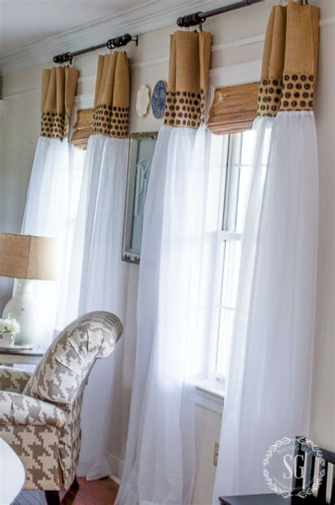 how to make valance curtains how to update sheer curtains an easy diy stonegable