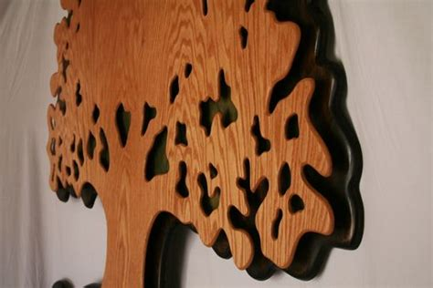 hand crafted extra large oak wood tree  life hanging sculpture  kneeland designs