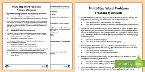 multi step fractions of amounts maths word problems