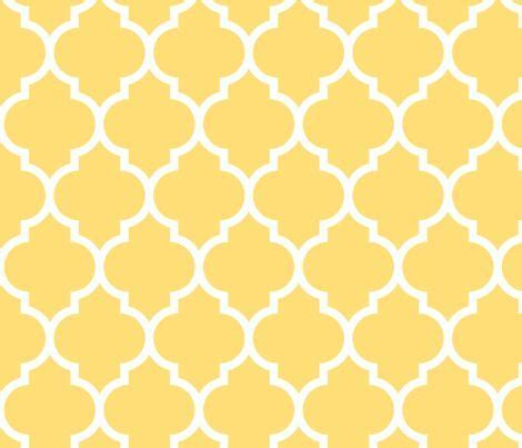 moroccan quatrefoil lattice in lemon yellow fabric by