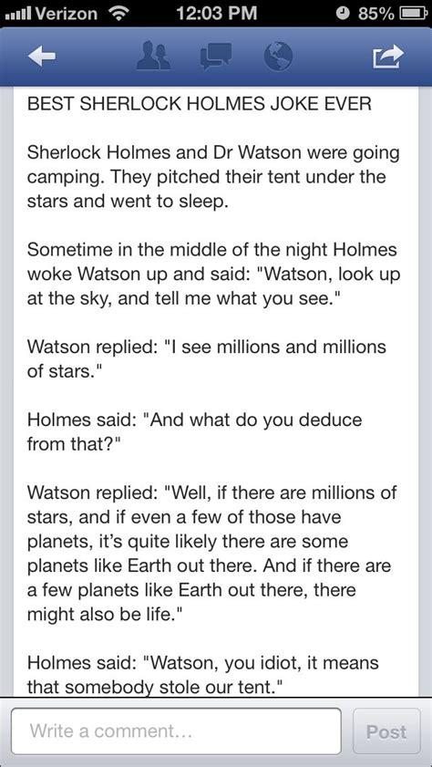 sherlock holmes jokes funny bbc watson tent quotes memes humor john camping fandom teespring