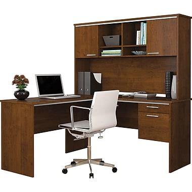 bureau avec étagère bestar bureau flare en l avec 233 tag 232 re brun toscane staples