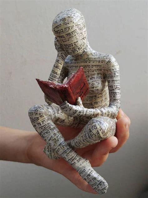 reading woman paper mache bookshelf decor bookish gift