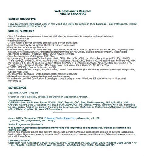 Developer Resume Template by Free 10 Printable Sle Programmer Resume Templates In