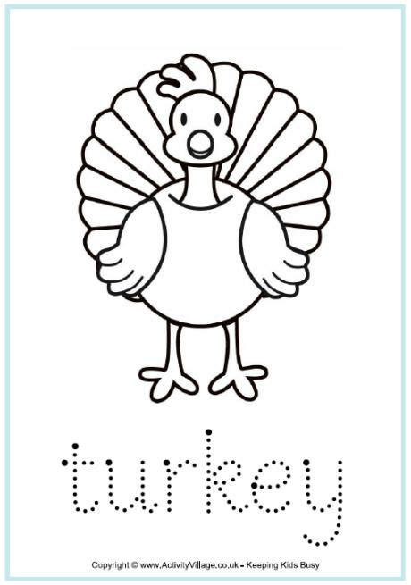 turkey tracing page toddlerspreschoolerskinder