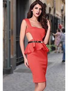 cut out side belted peplum dress red e6164 3 cilorycom With robes droites classiques