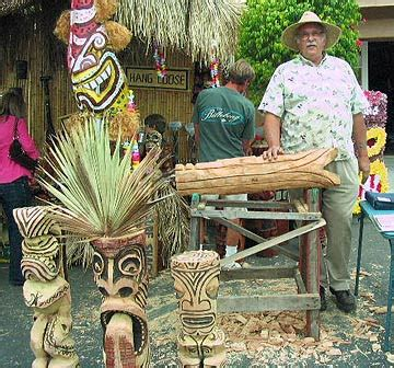 Palm Tiki by Wood Sculptor Richard M Howell Oceanic Wood Carving