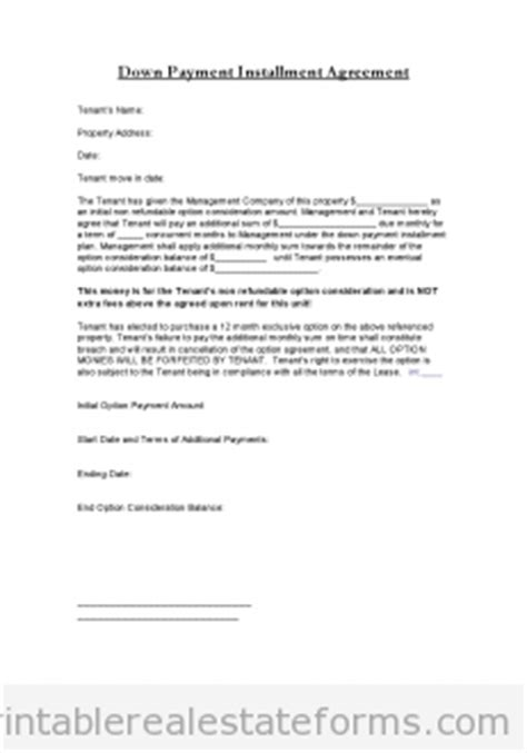 printable  payment installment agreement