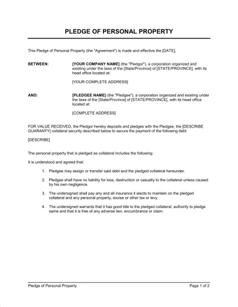 Pledge of Personal Property - Template & Sample Form