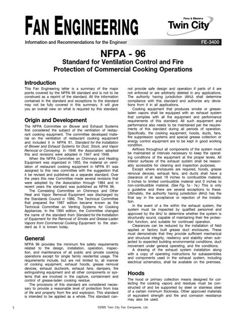 Nfpa 96 Standard for Ventilation Control and Fire