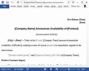 product launch press release sample for word With product press release template
