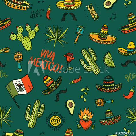 Vector seamless background with hand drawn colored Mexican ...