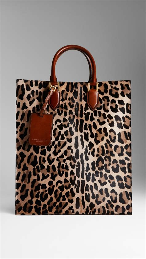 burberry spotted animal print tote bag  camel brown lyst