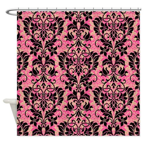 pink and black damask shower curtain by glamourgirls2