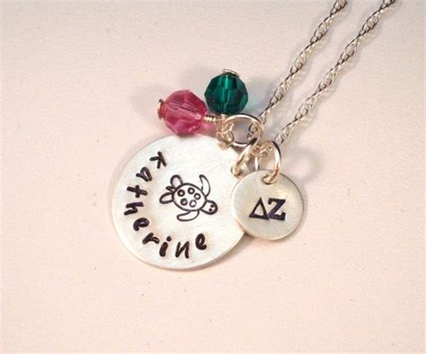 Personalized Delta Zeta Turtle Necklace In Sterling Silver
