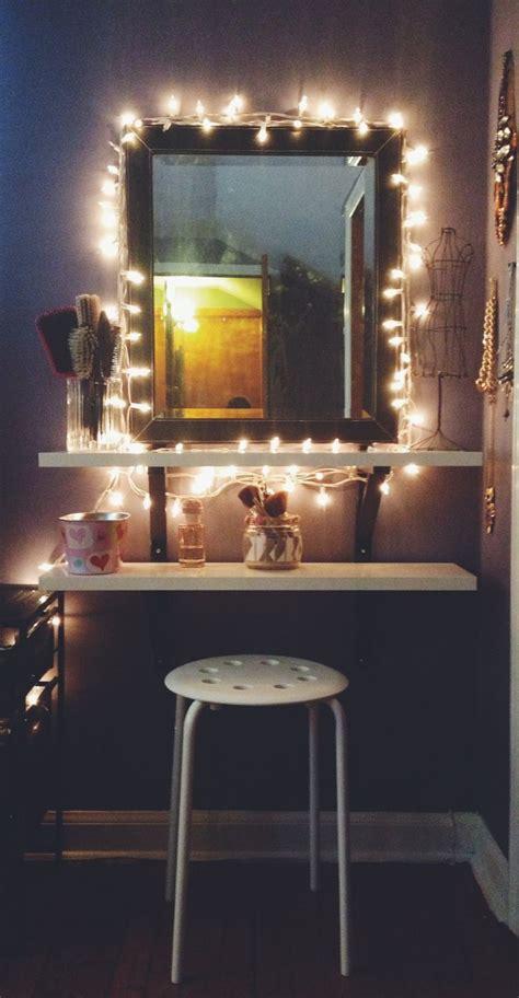 vanity table with lights around diy ikea hack vanity put shelves on wall beside mirror