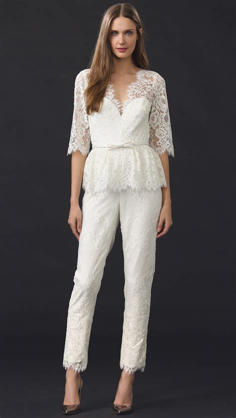 lace jumpsuit white notte by marchesa v neck lace jumpsuit ivory in white lyst