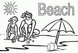 Coloring Beach Mom Playing Sand Pages Vacation sketch template