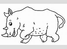 Coloriage Dans la savane Rhinoceros à colorier Allofamille
