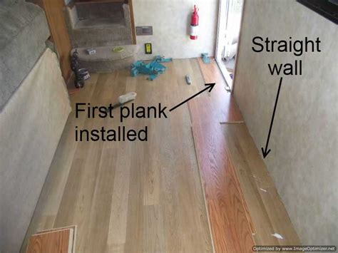 how to install row of hardwood flooring laminate in travel trailers