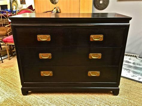 Asian Inspired Black Lacquer Chest Of Drawers Dresser At