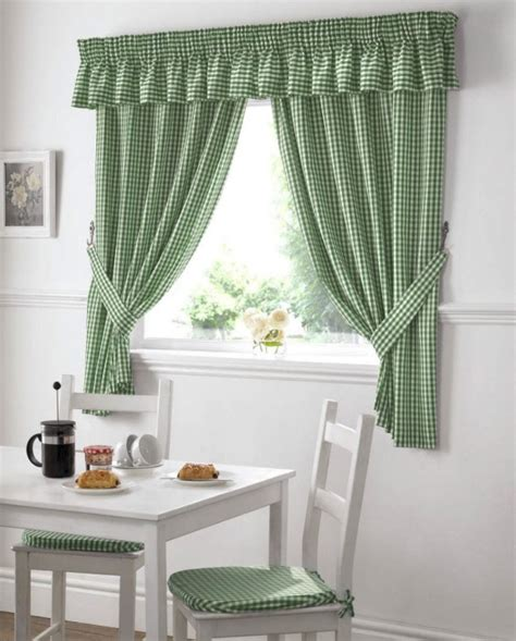 gingham check kitchen window curtains green  white