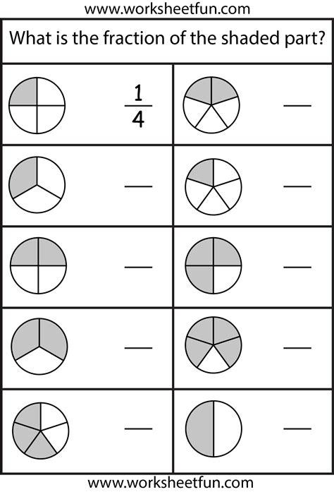 fractions  worksheets  printable worksheets