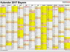 Kalender 2017 Bayern Ferien, Feiertage, ExcelVorlagen