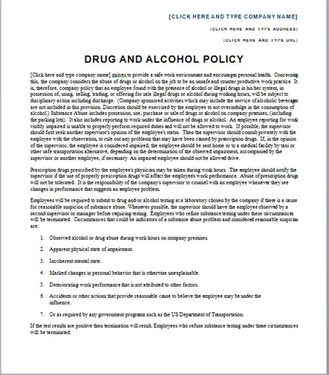 Employee Substance Abuse Policy Template Workable Free Workplace Policy Template Trekmediaget