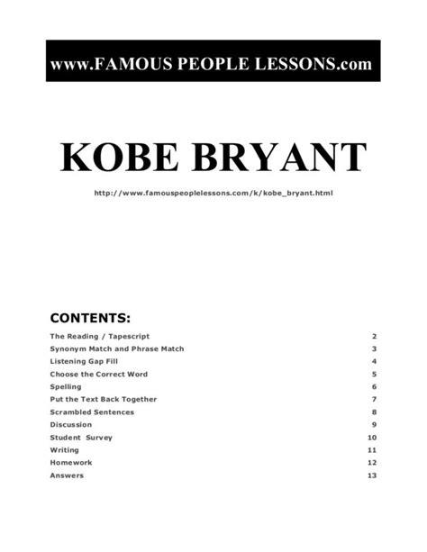 kobe bryant worksheet    grade lesson planet