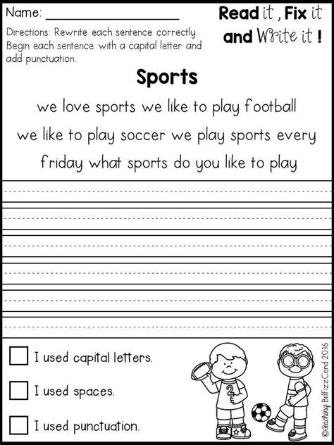fix   sentences kindergarten kindergarten