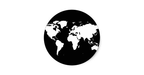 Carte Geographique Du Monde En Noir Et Blanc by Noir Blanc De Carte Du Monde Sticker Rond Zazzle