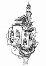 Coloring Pages Tree Architecture Colouring Adults Adult Drawings Drawing Books Houses Trees Sheets Fairy Living Dessin Coloriage Pencil Doodle Treehouse sketch template