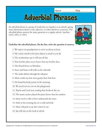 adverbial phrases  printable adverb worksheets
