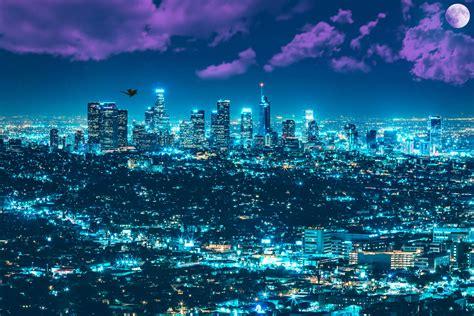 wallpaper los angeles cityscape city lights full moon