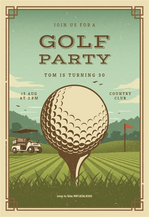 retro golf sports games invitation template