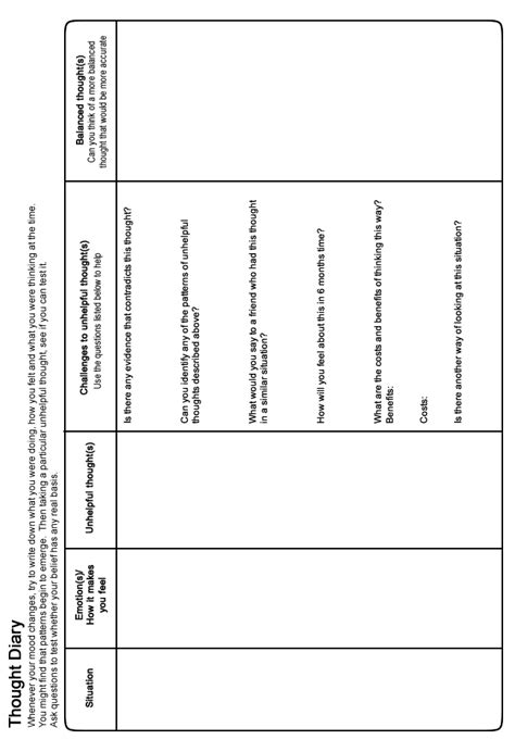 moodjuice thought diary worksheet   guide