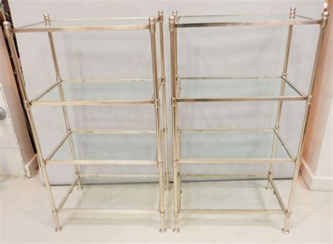 A Pair Of 20c Chrome & Glass Etagere