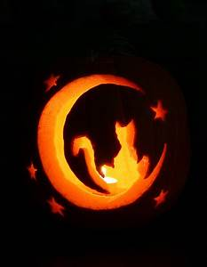 cat jack-o-lantern 2009 | another cat and moon jack-o ...