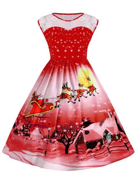 xmas party dress online canada xl plus size lace insert snow vintage dress rosegal