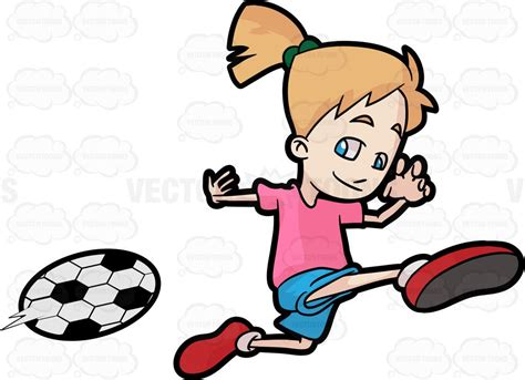A Happy Girl Kicking A Soccer Ball
