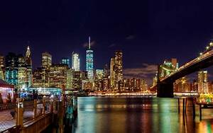 Skyscrapers, And, Brooklyn, Bridge, On, Hudson, River, In
