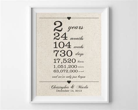 2nd wedding anniversary gift 2 years together cotton anniversary print 2nd anniversary days hours minutes seconds