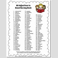 99 Adjectives To Describe Any Book  Freebie And Book Report Idea From Laura Candler