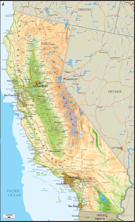 physical map  california ezilon maps