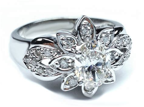 flower design engagement rings wedding and bridal