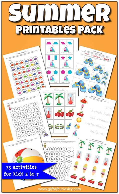 Summer Printables Pack  Worksheets, Graphics And Activities